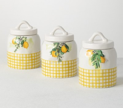 """7"""" Set of 3 Lemon Checkered Hill Country Canisters"""