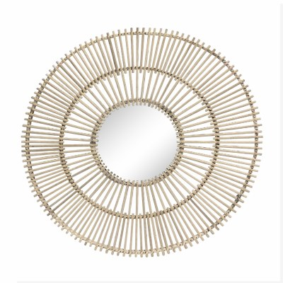 "31"" Round Natural Rattan Sunburst Bars Wall Mirror"