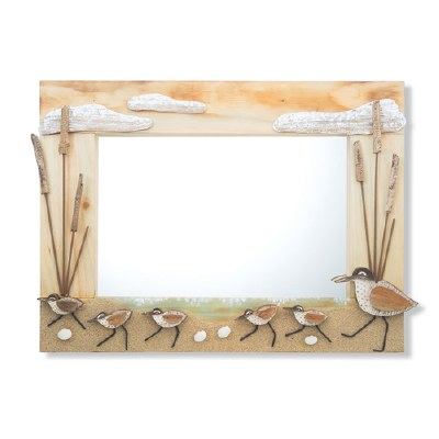 """18"""" x 24"""" Recycled Wood and Driftwood Sandpiper Mirror"""