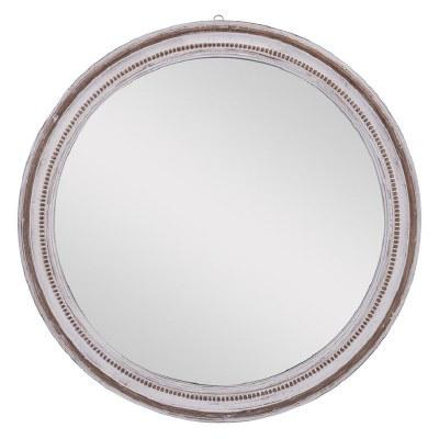 """37"""" Round Whitewash Beaded Rim Wood Wall Mirror"""