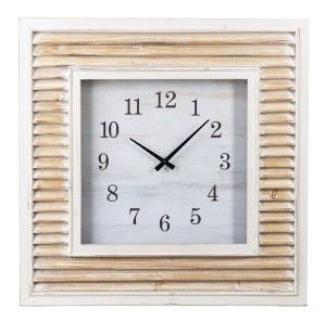 """25"""" Square Whitewashed Shutter Wall Clock"""