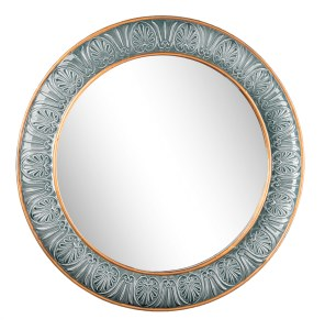 """30"""" Round Blue and Gold Embossed Framed Wall Mirror"""