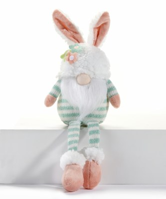 "16"" Bunny Gnome With Green Stripes and Flower Hat"