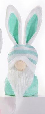 """8"""" LED Gnome With Blue Striped Hat and Bunny Ears"""