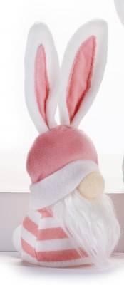"""8"""" LED Gnome With Dark Pink Hat and Bunny Ears"""