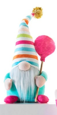 "10"" Birthday Gnome With Blue Shirt and Pink Balloon"