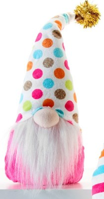 "10"" Birthday Gnome With Pink Shirt and Polka Dot Hat"