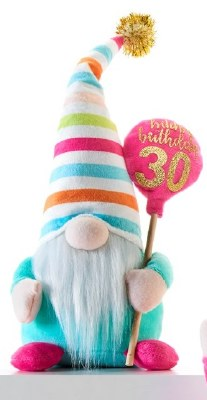 """10"""" Happy 30th Birthday Gnome With Striped Hat"""