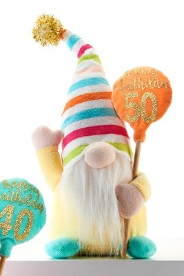 "10"" Happy 50th Birthday Gnome With Striped Hat"