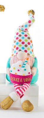 "20"" Birthday Gnome With Polka Dot Hat and Wish Cupcake"
