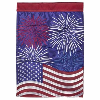 """18"""" x 13"""" Mini Red, White, and Blue Fireworks Flag Garden Flag"""