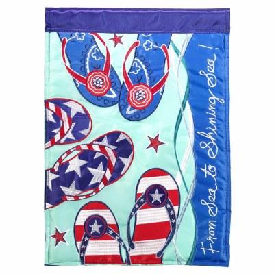 """18"""" x 13"""" Mini Red, White, and Blue Flip Flops Garden Flag"""