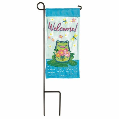 """9"""" x 4"""" Welcome Frog Garden Flag With Pole"""