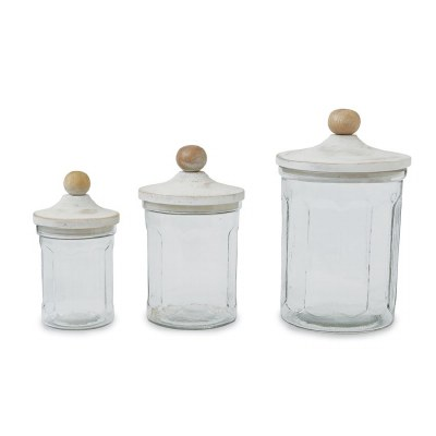Set of 3 Fluted Glass Canisters With Whitewashed Wood Lids