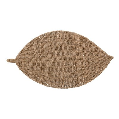 "13"" x 22"" Natural Seagrass Woven Leaf Placemat"