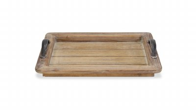 """13"""" x 17"""" Natural Wood Tray With Metal Handles"""