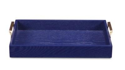 """10"""" x 16"""" Dark Blue Wood Tray With Gold Handles"""