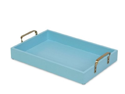 """10"""" x 16"""" Light Blue Wood Tray With Gold Handles"""