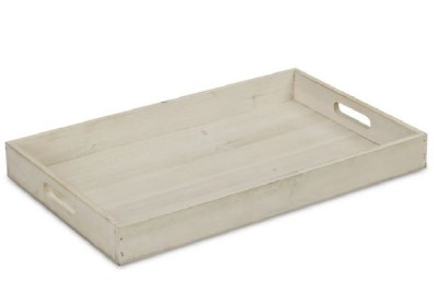 """12"""" x 20"""" Whitewashed Wood Tray With Handles"""