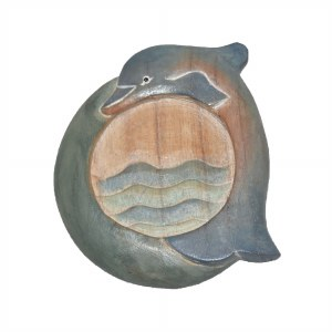 """5"""" Painted Carved Wood Dolphin Coaster"""