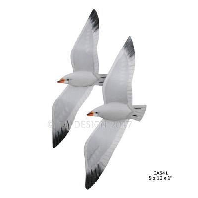 """10"""" x 5"""" Pair of Seagulls Metal Wall Plaque"""