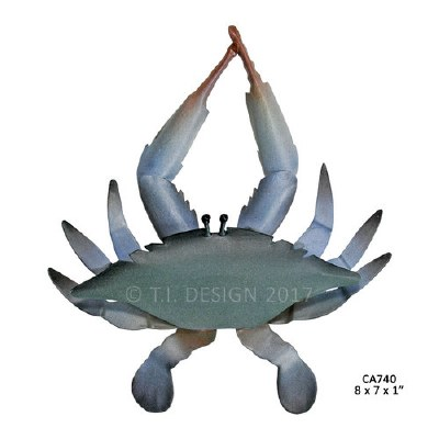 "8"" x 7"" Single Blue Crab Metal Wall Plaque"