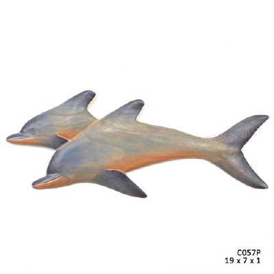 "7"" x 19"" Double Dolphin Painted Wood Wall Plaque"