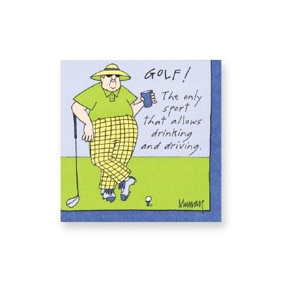 "5"" Square Drinking & Driving Golf Beverage Napkins"