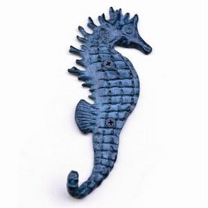 "6"" Blue Textured Metal Seahorse Wall Hook"