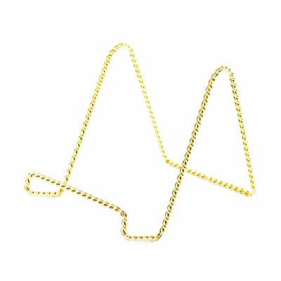 """6"""" Twisted Gold Brass Wire Plate Stand"""
