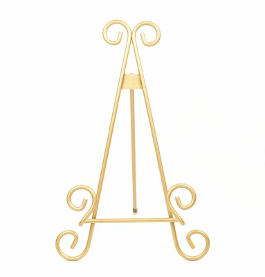 """11"""" Gold Scrollwork Metal Easel Plate Stand"""
