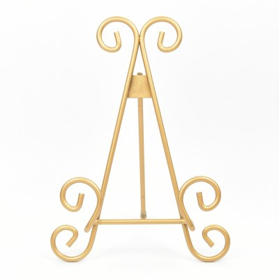 "9"" Gold Scrollwork Metal Easel Plate Stand"