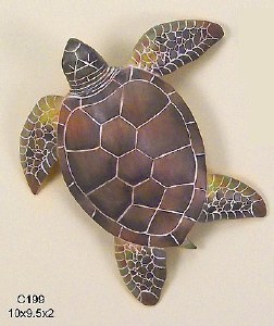 "10"" Large Green Sea Turtle Table Sculpture"