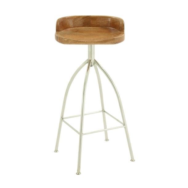 Pleasant 35 Teak Wood And Silver Metal Bar Stool Creativecarmelina Interior Chair Design Creativecarmelinacom