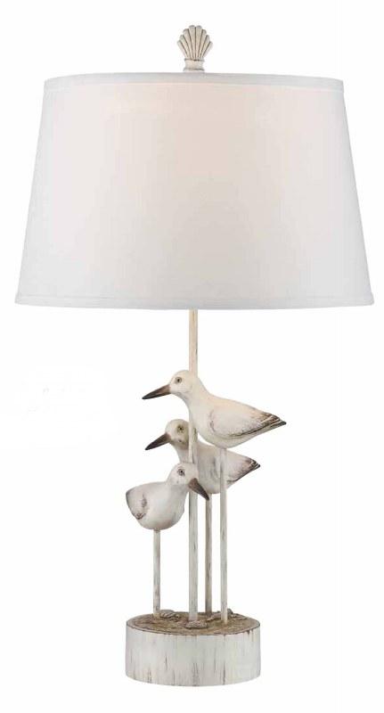 30 Distressed White Finish Seabird Trio Wood Lamp