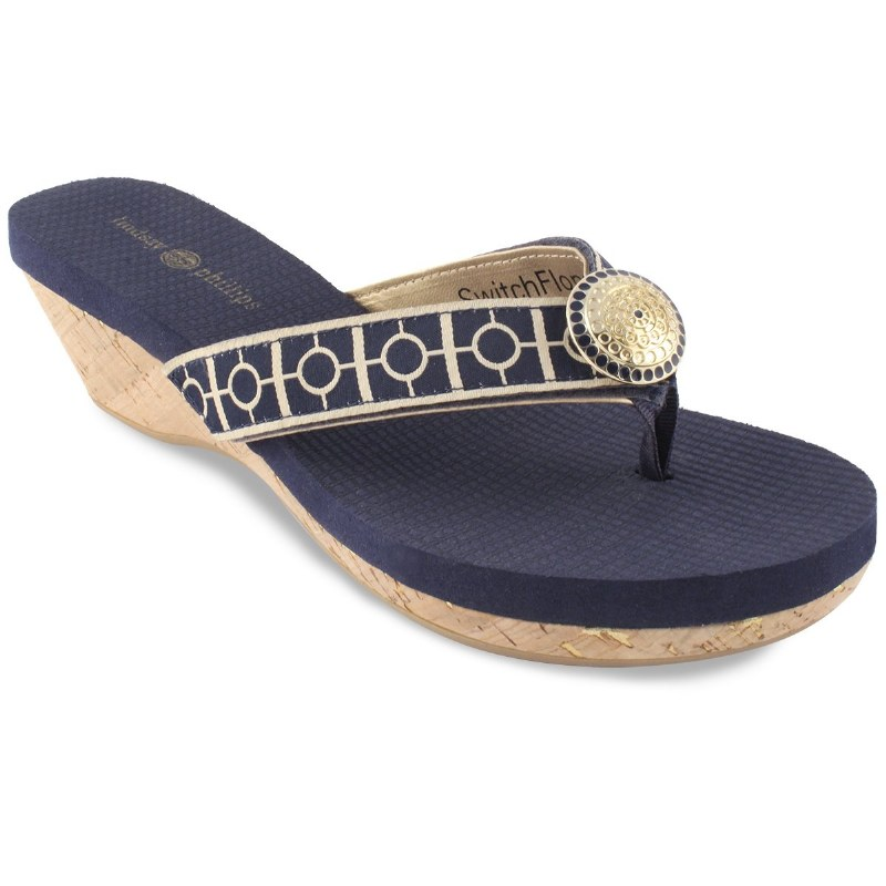 Size 7 Navy Blue and Gold Yoga Lynne