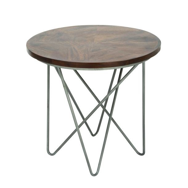 24 Round Wood Top End Table With Silver Hairpin Legs Wilford