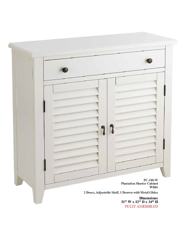 34 X 31 White Plantation Shutter Cabinet With 2 Doors And A