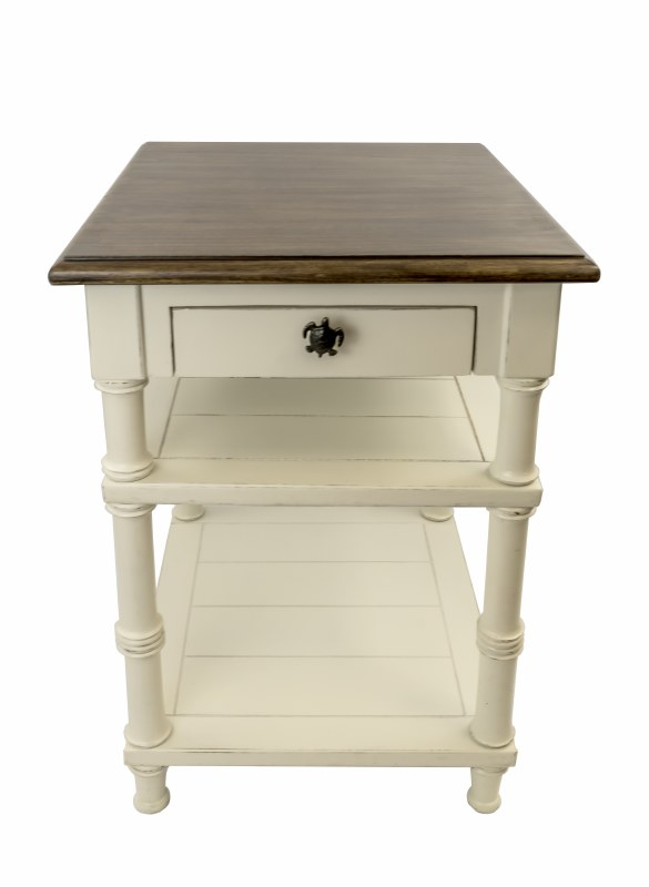 27 Distressed White Finish Side Table With Wood Top And Drawer Turtle Pull