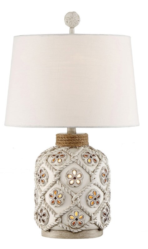 25 Distressed White Finish Roped Sand Dollar Night Light Table Lamp