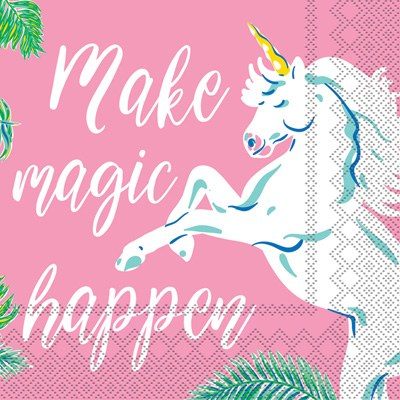 5 Square Unicorn Make Magic Happen Beverage Napkins Wilford Lee Home Accents