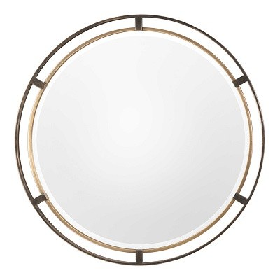 36 Round Distressed Bronze And Gold Metal Finish Frame Mirror