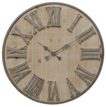 30 Round Whitewashed Galvanized Metal Roman Numeral Wall Clock
