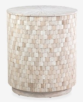 20 Round Whitewash Wood Square Pattern Storage End Table