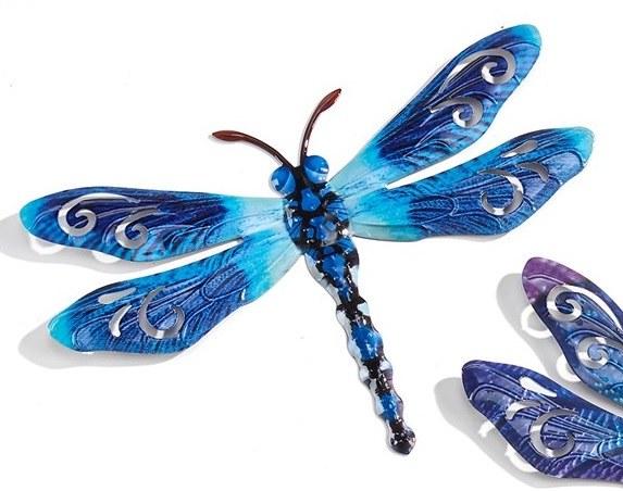 Dark Blue Dragonfly Metal Sculpture Magnet