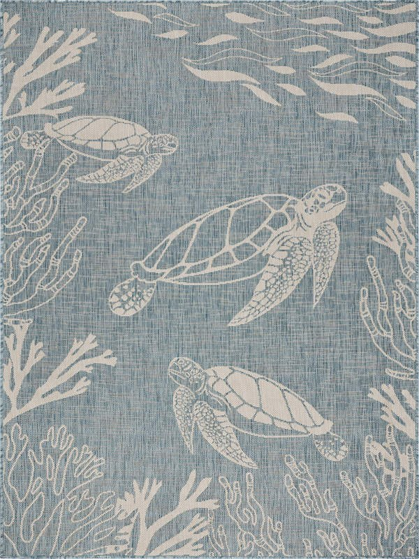 1 10 X 3 Aqua And White Turtle Seaside Rug Wilford Lee Home Accents