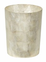 "10"" White Capiz Waste Basket"
