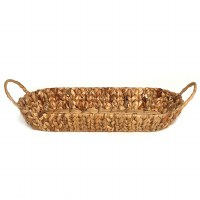"""21"""" Oblong Woven Hyacinth Handled Tray"""