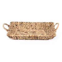 "16"" Large Rectangular Woven Hyacinth Handled Tray"