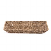 """16"""" Large Rectangular Woven Seagrass & Wire Tray"""